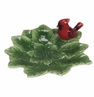 J. Willfred Ceramics Green Leaf Majolica Dish with Cardinal