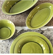 Jars Ceramics Tourron Avocado Green Dinnerware