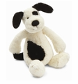 Jellycat Bashful Black & Cream Puppy - Small Stuffed Animal