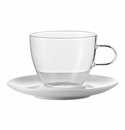 Jenaer Glass Cappuccino Cup with porcelain saucer, 10oz