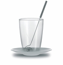 Jenaer Glass Chocolate Glass with Stainless Steel Saucer and Stirrer, 13.5oz