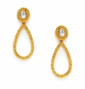 Julie Vos Penelope Statement Post Earring Gold Iridescent Aquamarine Blue