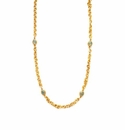 Julie Vos Savannah Station Necklace Gold Aquamarine Blue