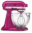 KitchenAid Artisan 5 Qt. Stand Mixer with Glass Mixing Bowl - Raspberry Ice