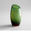 Large Angle Cut Green Glass Vase by Cyan Design