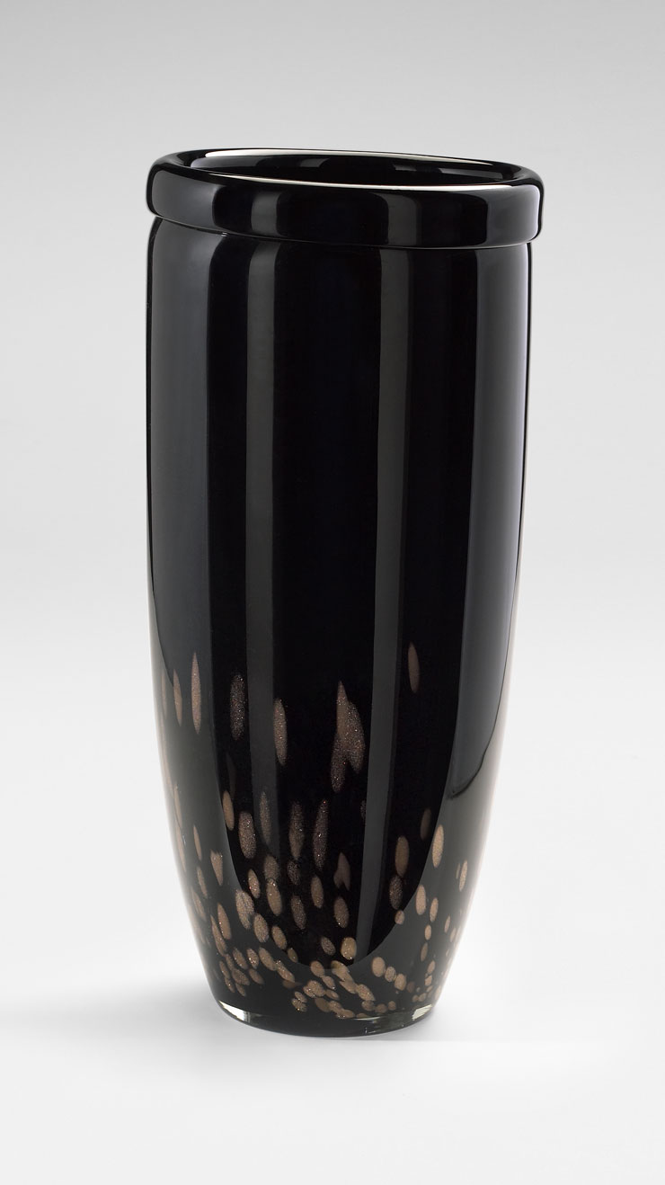 Large Black Amp Amber Glass Vase By Cyan Design