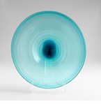 Large Blue Art Glass Record Plate by Cyan Design