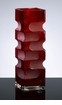Large Etched Red Glass Vase by Cyan Design