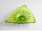 Large Glass Green Leaf Plate