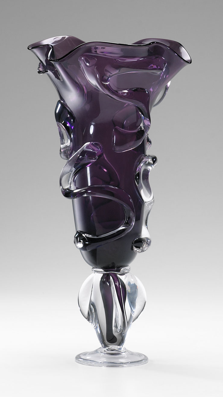 Large Purple Art Glass Vase By Cyan Design