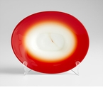 Large Red Art Glass Vermillion Plate by Cyan Design
