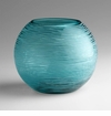 Large Round Aqua Glass Vase by Cyan Design