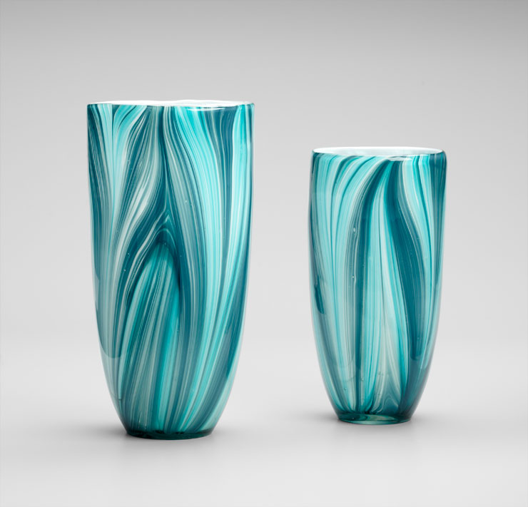 Turin Turquoise Glass Vase by Cyan Design Small