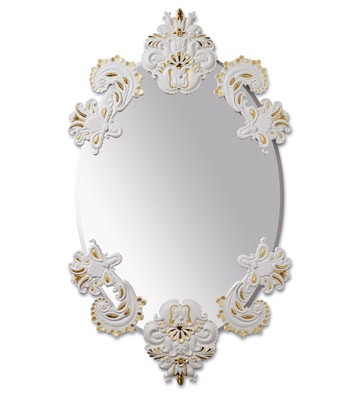 lladro oval mirror without porcelain frame white and gold