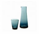 "Mary Jurek Catalina Glass Carafe & Tumbler 2 Piece Set Grey Blue 9.25"" H"
