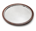 "Mary Jurek Kenya Individual Rosewood Round Tray with Croc Insert 16"" D"