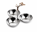 "Mary Jurek Mariposa 8"" 3-Bowl Butterfly Snack Set - Stainless Steel"