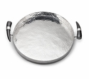"Mary Jurek Orion 15"" Round Tray - Buffalo Horn Handles - Stainless Steel"