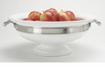 Match Italian Pewter Convivio Round Centerpiece with Handles White