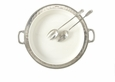 Match Italian Pewter Convivio Round Serving or Casserole Platter with Handles White