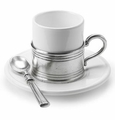 Match Italian Pewter Espresso Cup and Ceramic Saucer