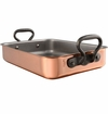 """Mauviel MHeritage Cast Iron Handled Copper Roaster 15.7x11.8"""""""