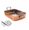 """Mauviel MHeritage Cast Stainless Handled Copper Roaster 15.7x11.8"""""""