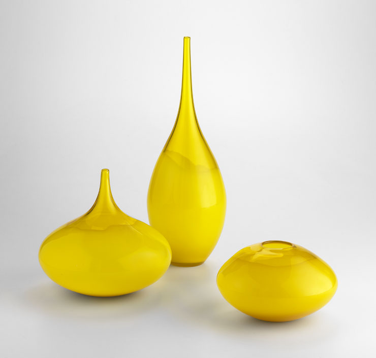 Medium Moonbeam Yellow Art Glass Vase By Cyan Design
