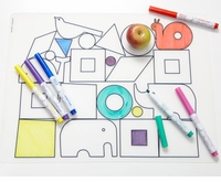 Modern Twist Dwellstudio Animal Blocks Placemat & Markers Kids Box Set
