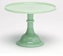 "Mosser Glass 10"" Footed Cake Plate - Jade"