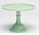 """Mosser Glass 12"""" Footed Cake Plate - Jade"""