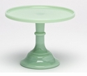 """Mosser Glass 9"""" Footed Cake Plate - Jade"""