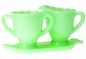 Mosser Glass Creamer Pitcher & Sugar with Tray - Jade