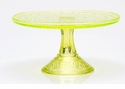 Mosser Glass Queens Footed Cake Plate - Vaseline