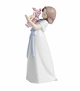 "Nao by Lladro Porcelain ""Cuddles with Piglet"" Figurine"