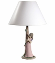 Nao by Lladro Porcelain Kitty Cuddles Lamp