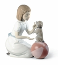 Nao by Lladro Porcelain Learning New Tricks Dog & Little Girl Figurine