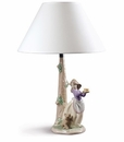 Nao by Lladro Porcelain Puppy's Birthday - Lamp Figurine
