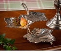 Nickel 3 Tier Leaf Dish Home Decor