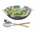 Nickel And Gold Bamboo Bowl Home Decor