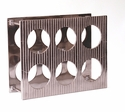 Nickel Lined 6 Bottle Wine Rack Home Decor