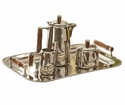 Nickel Tea Set With Bamboo Handle (Tray Sold Seperately- Item #St245) Home Decor