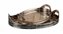 "Nickel Tray Oval Etched 16.5"" L Home Decor"