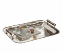 Nickel Tray Rect With Bamboo Handle Home Decor