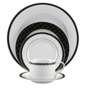 Nikko China Black Tie 5 Piece Dinnerware Place Setting