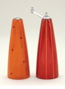 Pep Art Peel Pepper Mill & Salt Shaker Set - Orange & Red Stripes Dots