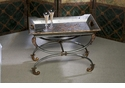 Pewter Finish Iron Tray & Stand Home Decor