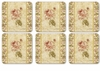 Pimpernel Antique Rose Linen Square Coasters (Set of 6)