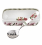 Portmeirion Botanic Garden Cranberry Dish with Slotted Spoon (Rhododendron)
