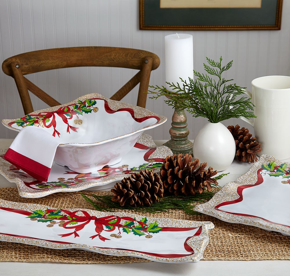 Q Squared Holiday Ruffle 17 X 13.5 Rectangle Serving